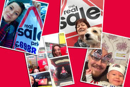 Winners of the Real Sale selfie competition with the Daily Record