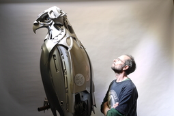 An interview with the artist who recycles hubcaps into beautiful creatures
