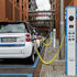 Smart cars charging at Potsdamer Platz in Berlin
