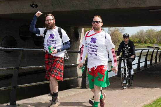Some enthusiastic walkers at the 2016 kiltwalk