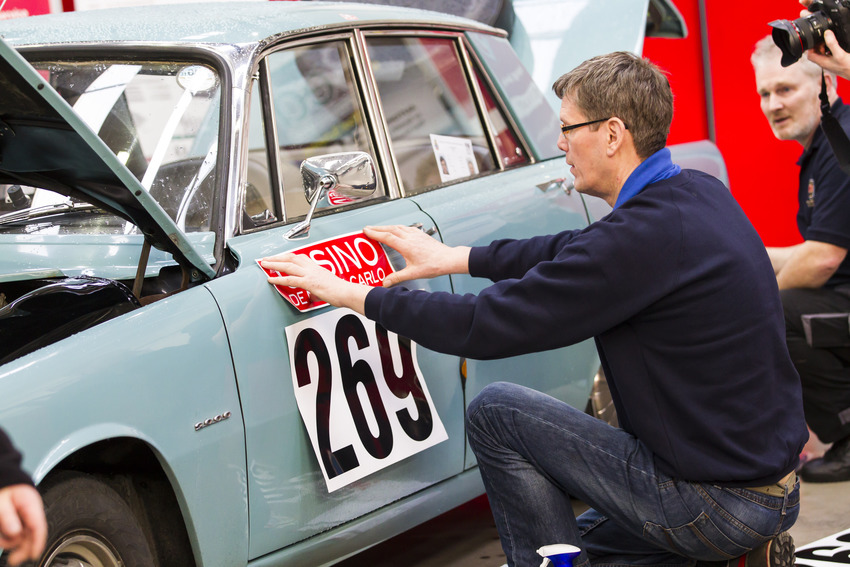 Monte Carlo Rally cars were scrutineered before embarking on the race at GTG Glasgow.