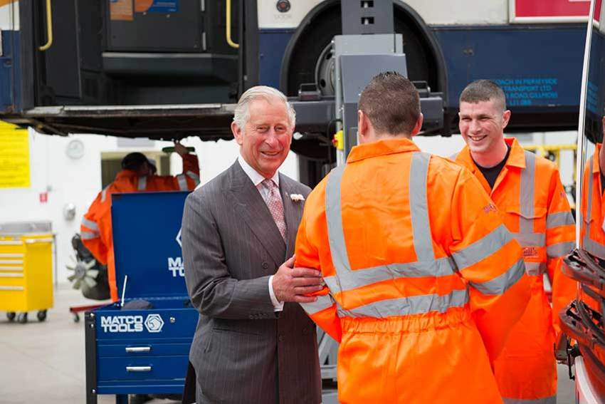 HRH Prince Charles, Duke of Rothesay spoke to apprentices at GTG Training during his visit