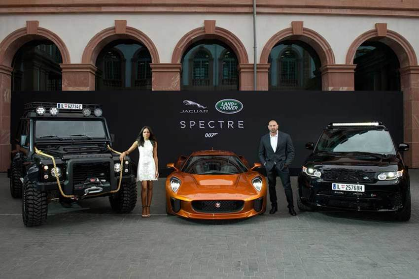 Naomie Harris and Dave Bautista with the Range Rover Sport SVR, Land Rover Defender and Jaguar C-X75