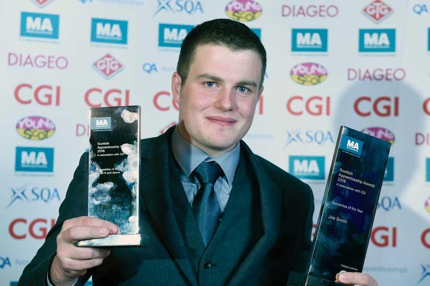 Joe Smith winning Apprentice of the Year 2016.