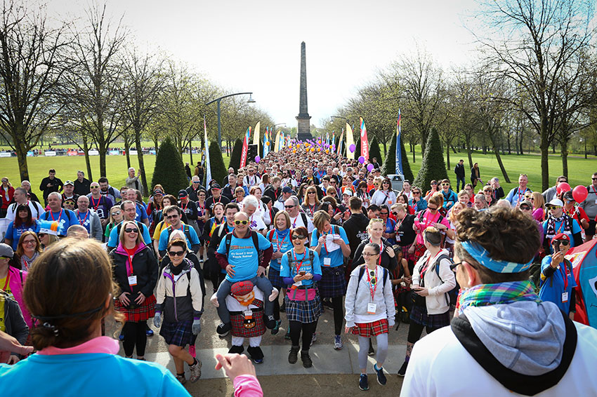 The Kiltwalkers get ready to start the Mighty Stride at Glasgow Green.
