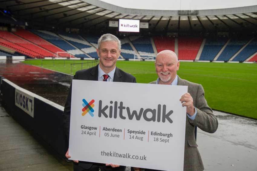 Eddie Hawthorne with Sir Tom Hunter at The Kiltwalk 2016 launch at Hampden last year.