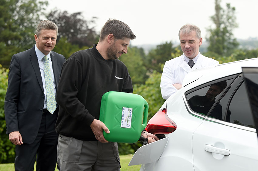 Ross Barclay, Arnold Clark technician, fills up the first car to drive on biobutanol