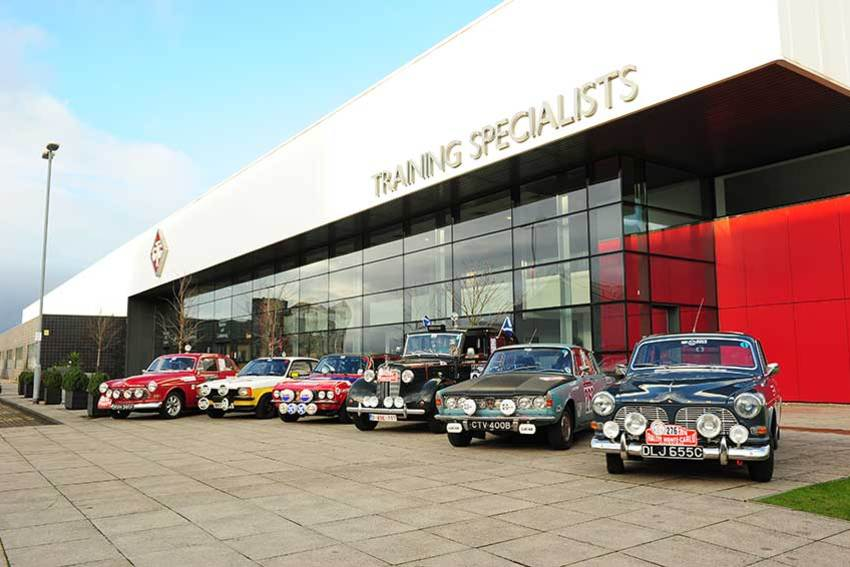 The six cars line up outside GTG Glasgow ready to go