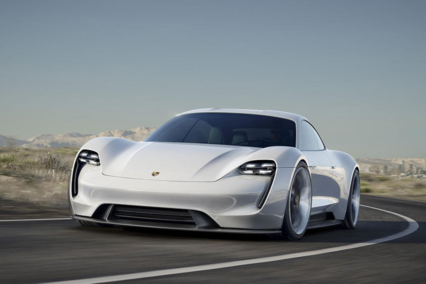 The Porsche Mission E concept car is on display