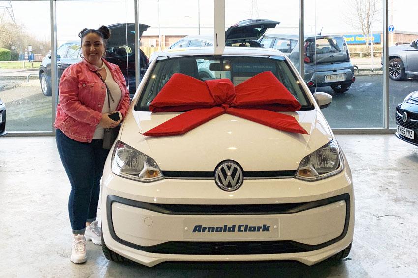 Sharon in the Arnold Clark Oldbury Motorstore.