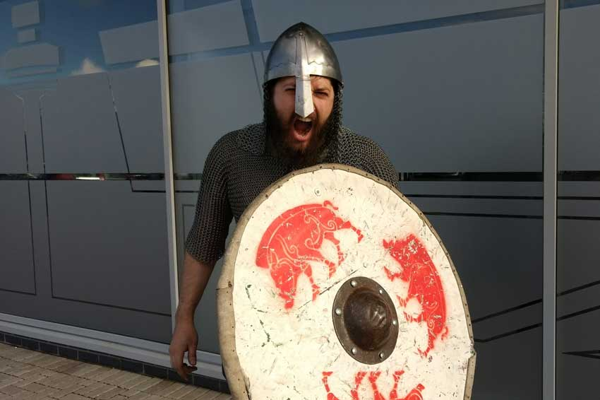 Euan demonstrating his Viking roar.