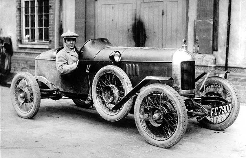 Beginnings: Cecil Kimber in 1925 at the wheel of the first real MG sports car –'The Old Number One'.