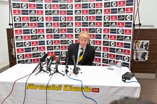 Gordon Strachan making his latest team announcement at our Linwood Vauxhall dealership