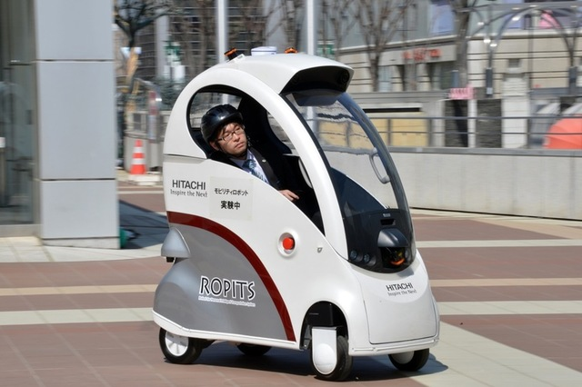 Designed with elderly and disabled drivers in mind, this car can be controlled using your smartphone or tablet. Image: Hitachi