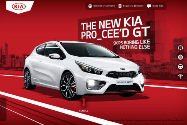 stunning website from kia promotes new pro cee d gt. Black Bedroom Furniture Sets. Home Design Ideas