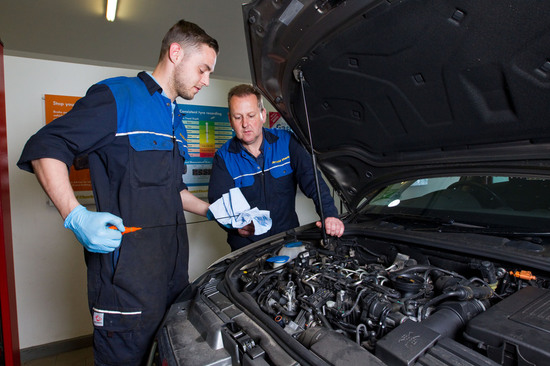 Use the dipstick to check the engine oil level