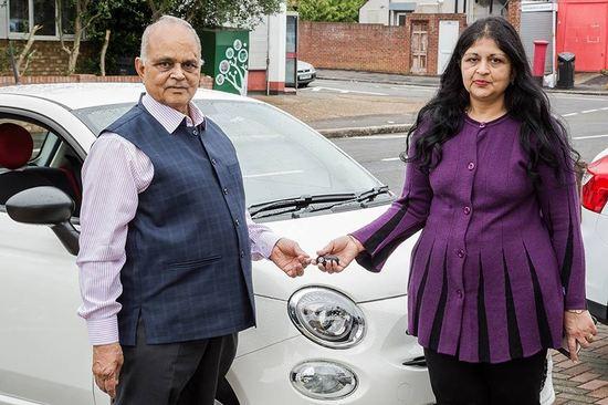 Manjula Sood gave her father, Yogender, the Fiat 500 prize