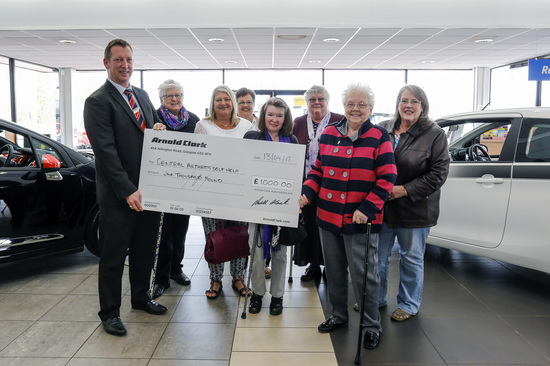 Members of the Central Arthritis Self-Help group came along to Stirling Citroën to collect their cheque.