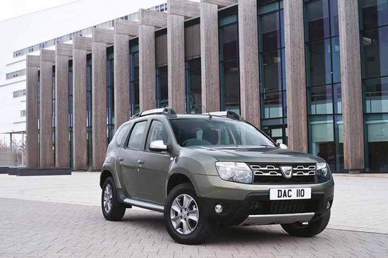 The Dacia Duster stands out on the road.