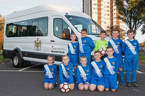 Newcastle East End FC collect their new minibus