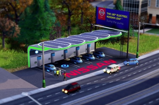 Unusually for product placement in games, the charging station in SimCity actually has a direct impact on gameplay. Image: EA
