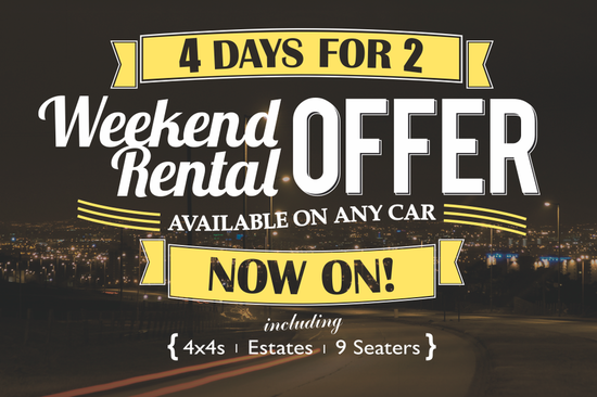 Get 4 days weekend rental for the price of 2 on car and van rental