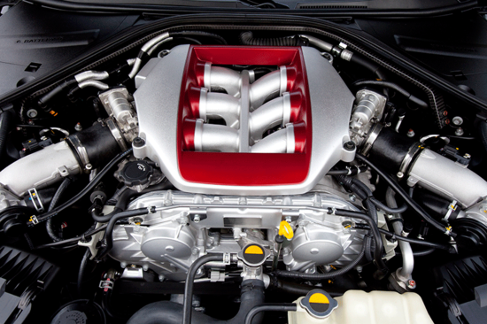The engine cylinders of a high performance car