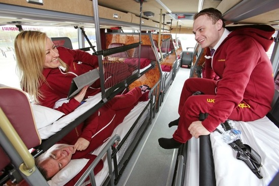 Each bus will have 42 fold down beds inside and passengers will be given a red onesie, a toothbrush and an eye mask. Image: Stagecoach