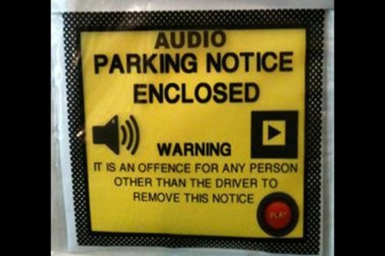 The FlashPark ticket comes embedded with a 30 second audio message which lets private landowners leave motorists a voice message rather than a fine. Image: FlashPark