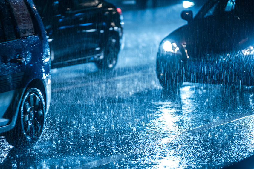 Driving in wet conditions can be challenging.